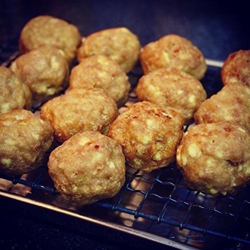 豆腐入り肉団子の甘酢あん、マッシュポテト添え_a0223786_16480827.jpg
