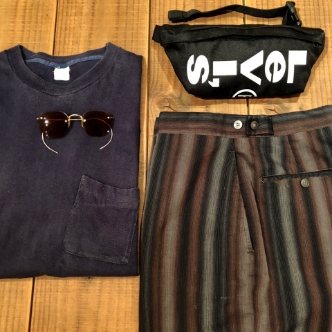 "1950-60s "" UNKNOWN \"" COTTON & RAYON - OMBRE STRIPE - VINTAGE SHORTS ._d0172088_21595893.jpg"
