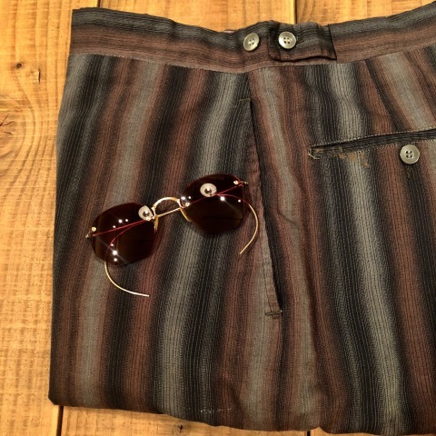 "1950-60s "" UNKNOWN \"" COTTON & RAYON - OMBRE STRIPE - VINTAGE SHORTS ._d0172088_22072368.jpg"
