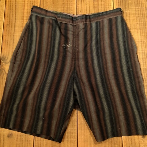 "1950-60s "" UNKNOWN \"" COTTON & RAYON - OMBRE STRIPE - VINTAGE SHORTS ._d0172088_22134727.jpg"