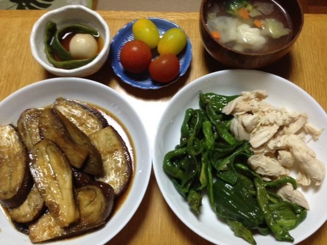 夏野菜と鶏ささみの炒め物(ピーマン、ししとう、伏見甘長唐辛子)_e0097895_20592957.jpg