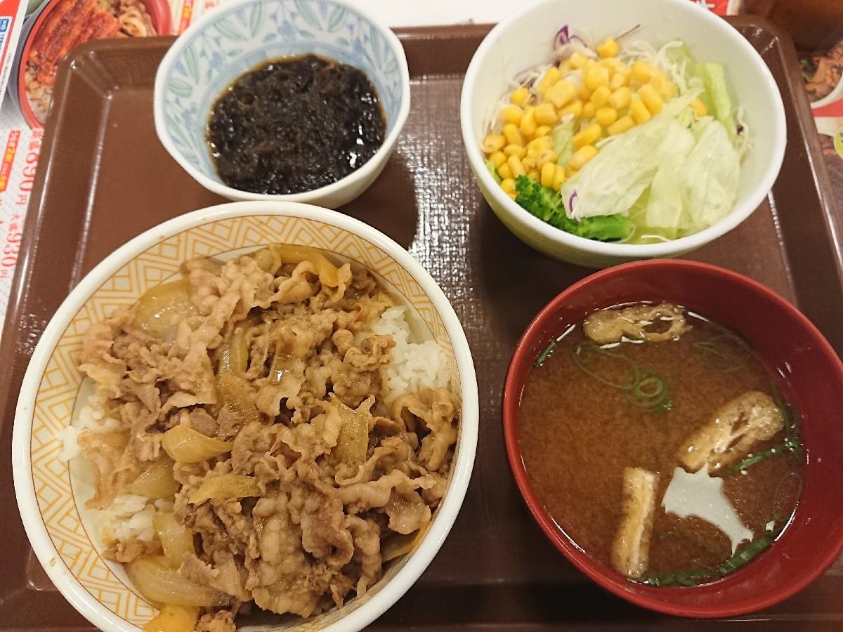 7/13  沖縄もずく牛丼サラダセット¥650 @すき家_b0042308_08253789.jpg