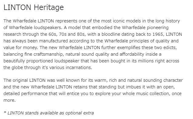 Wharfedale(ワーフェデール)の新製品 LINTON Heritage を試聴いたしました。_b0292692_18313068.jpg