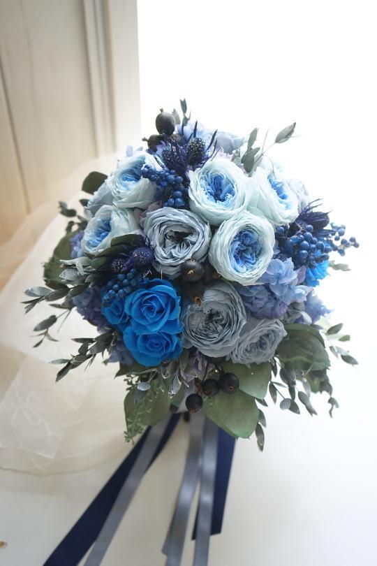 ブルーのバラのクラッチブーケ!_a0136507_21401852.jpg