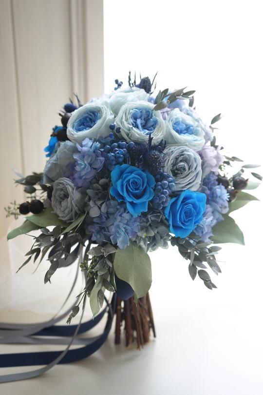 ブルーのバラのクラッチブーケ!_a0136507_21403902.jpg