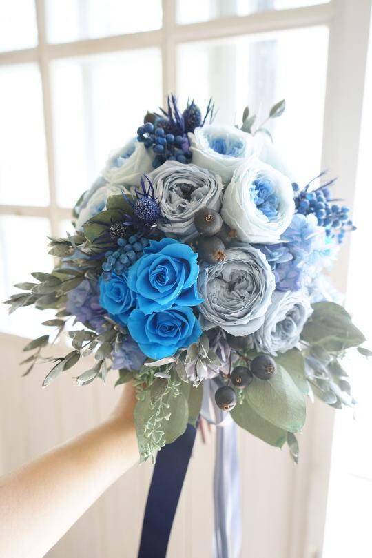 ブルーのバラのクラッチブーケ!_a0136507_21404912.jpg