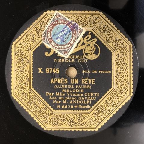 女流ヴァイオリン奏者、イヴォンヌ・クルティのSP盤が入荷_a0047010_10552684.jpg