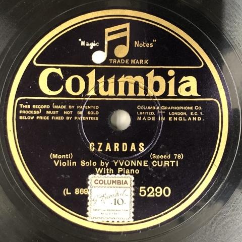 女流ヴァイオリン奏者、イヴォンヌ・クルティのSP盤が入荷_a0047010_11163675.jpg