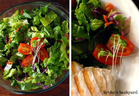 しましまチキン添え大盛りサラダと、コーンチャウダースープ_b0253205_03530262.jpg