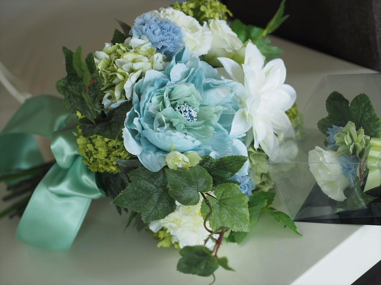 クラッチブーケ【Green&Blue】_d0144095_13344255.jpg