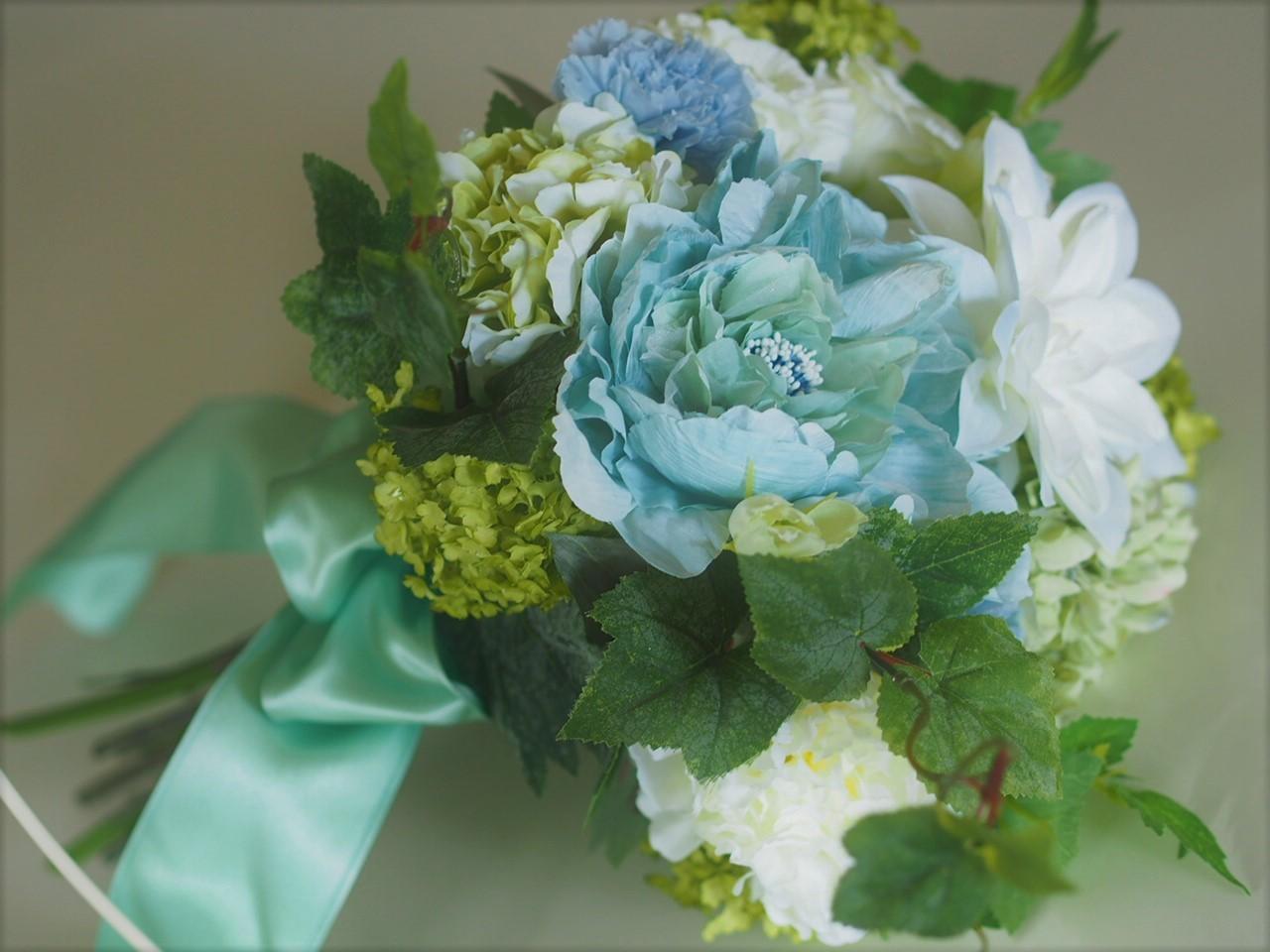 クラッチブーケ【Green&Blue】_d0144095_13400300.jpg