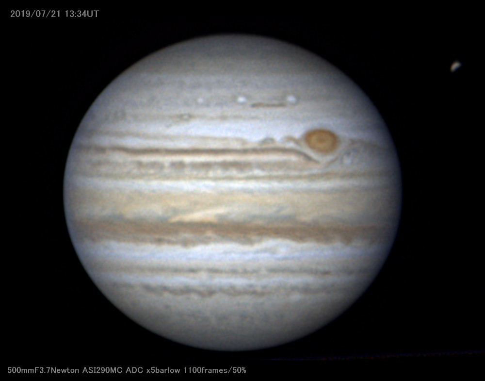 やっと梅雨明けらしくなったので木星を撮影した_a0095470_21071704.jpg
