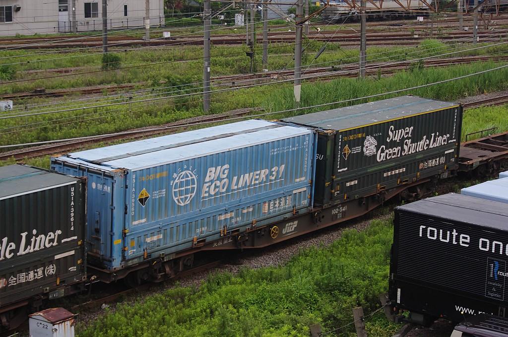 7/20東京貨物ターミナルにてSGS60レのコキとコンテナ_f0203926_2242346.jpg