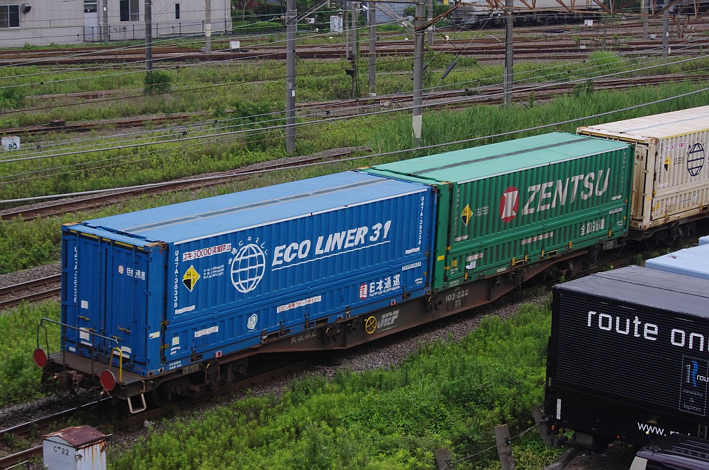 7/20東京貨物ターミナルにてSGS60レのコキとコンテナ_f0203926_2242505.jpg