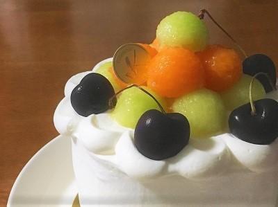 100均12cm型でメロンのケーキ♪_f0231189_21123048.jpg