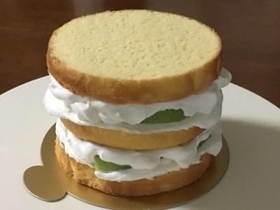 100均12cm型でメロンのケーキ♪_f0231189_21140526.jpg