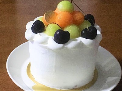 100均12cm型でメロンのケーキ♪_f0231189_21150495.jpg