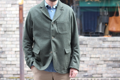 "「WORKERS」一押しのLoden Clothを使用した ""Lounge Jacket\"" ご紹介_f0191324_08195215.jpg"