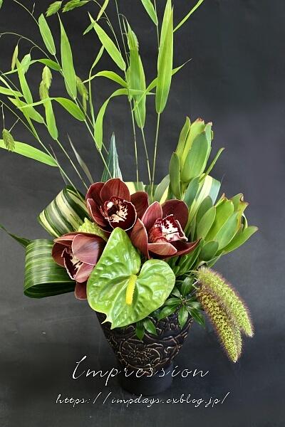 定期装花から シンビジウム:トスカニーブラウン_a0085317_17293029.jpg