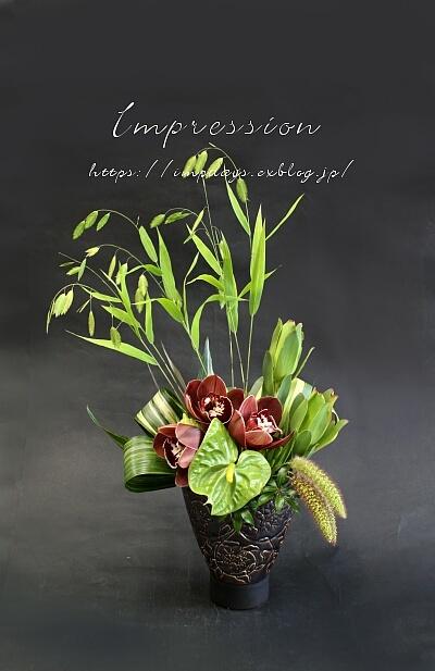 定期装花から シンビジウム:トスカニーブラウン_a0085317_17293478.jpg