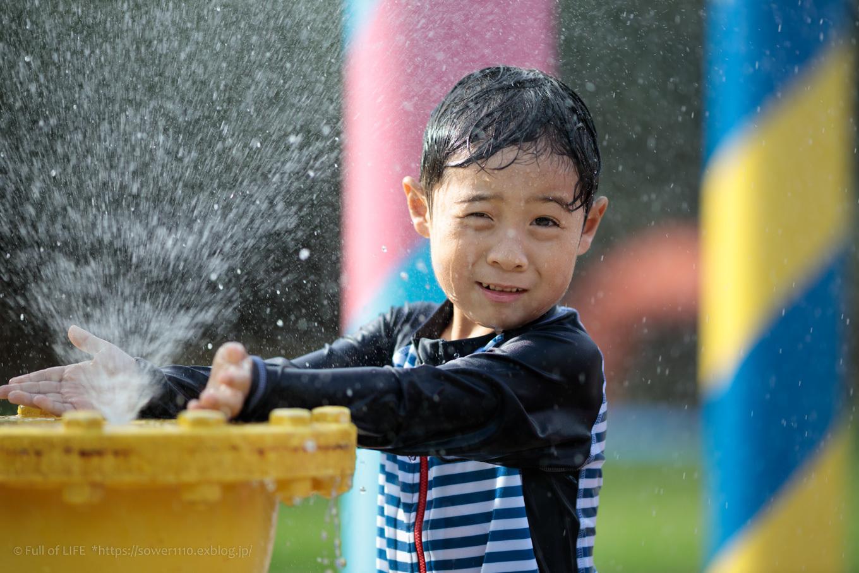 令和元年夏休み ちびっ子兄弟の水遊び!!「福岡堰さくら公園」_c0369219_12440538.jpg