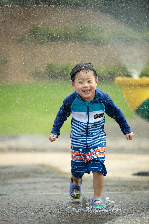 令和元年夏休み ちびっ子兄弟の水遊び!!「福岡堰さくら公園」_c0369219_13302166.jpg