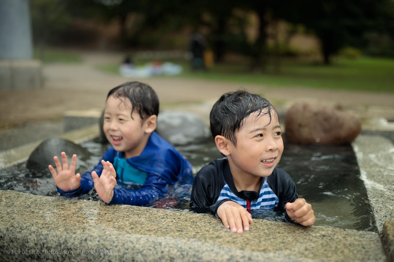 令和元年夏休み ちびっ子兄弟の水遊び!!「福岡堰さくら公園」_c0369219_14225716.jpg