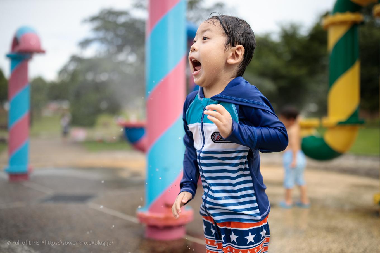 令和元年夏休み ちびっ子兄弟の水遊び!!「福岡堰さくら公園」_c0369219_14343500.jpg