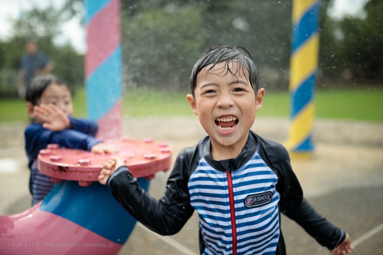 令和元年夏休み ちびっ子兄弟の水遊び!!「福岡堰さくら公園」_c0369219_14360101.jpg
