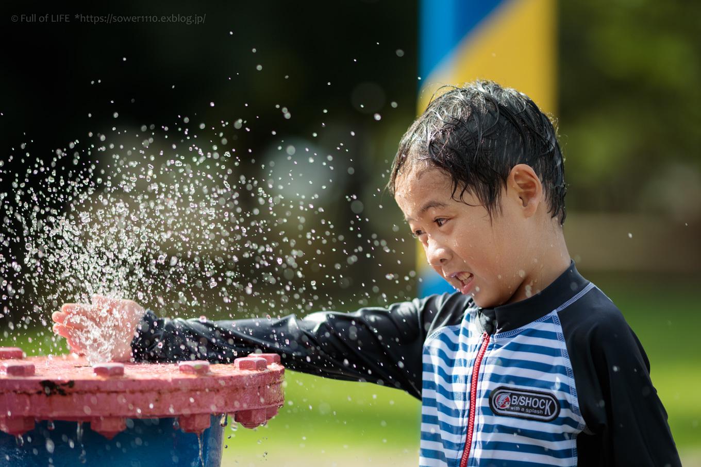 令和元年夏休み ちびっ子兄弟の水遊び!!「福岡堰さくら公園」_c0369219_15375584.jpg
