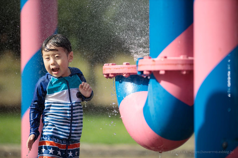 令和元年夏休み ちびっ子兄弟の水遊び!!「福岡堰さくら公園」_c0369219_15432406.jpg