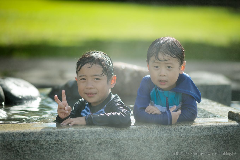 令和元年夏休み ちびっ子兄弟の水遊び!!「福岡堰さくら公園」_c0369219_15482496.jpg