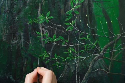森の木々の葉っぱを描いてます。_b0240382_21221001.jpg