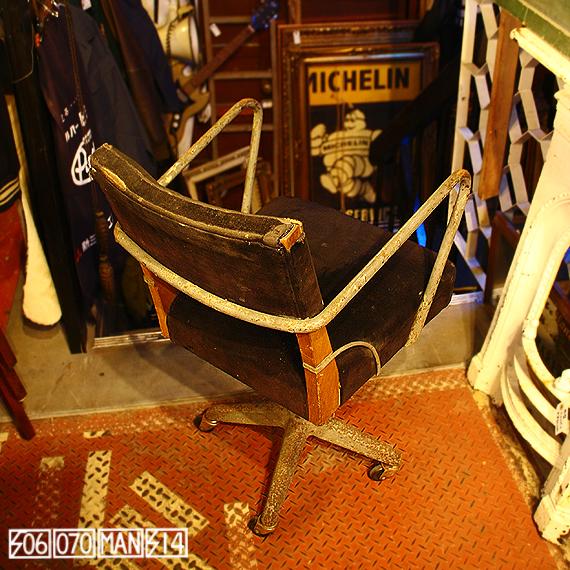 1960s Vintage アイアン+ウッド+ストローの工業系ドクターチェア_e0243096_08030662.jpg