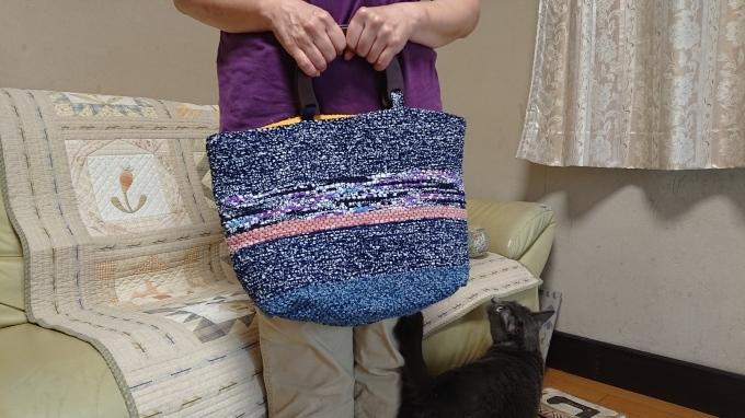 裂き織りバッグ完成&手づくりマルシェのハガキ♪_f0374160_22230655.jpg