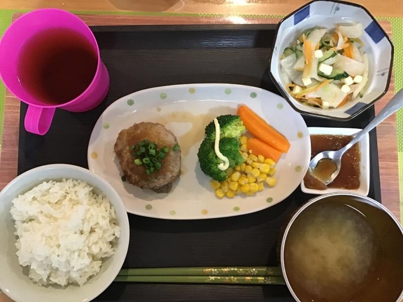 あじさい荘夕食 豆腐ハンバーグ 大根の和風サラダ 白米 味噌汁_c0357519_18054338.jpeg