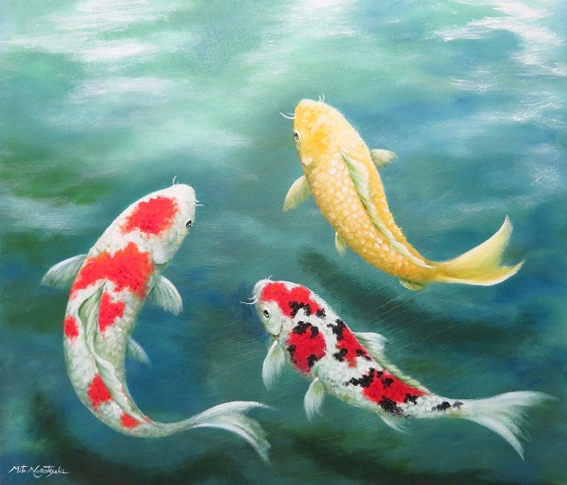 錦鯉の油絵Ⅱ_b0089338_00030413.jpg