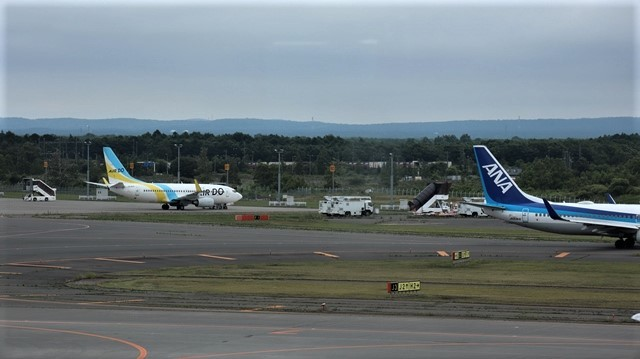 藤田八束の鉄道写真@札幌空港で離発着する飛行機、札幌空港からの貨物列車の写真、楽しい飛行機たちが勢ぞろいした札幌空港_d0181492_22440247.jpg