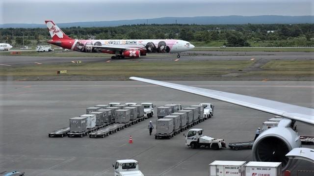 藤田八束の鉄道写真@札幌空港で離発着する飛行機、札幌空港からの貨物列車の写真、楽しい飛行機たちが勢ぞろいした札幌空港_d0181492_22450642.jpg