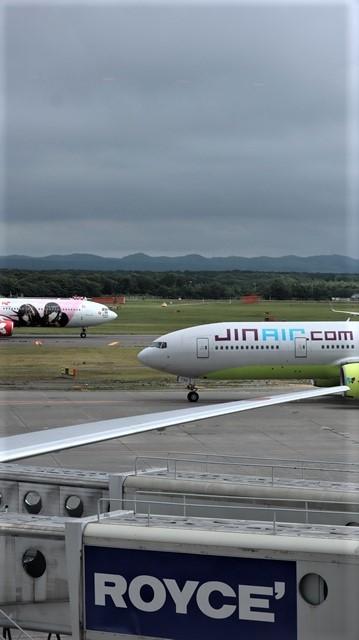 藤田八束の鉄道写真@札幌空港で離発着する飛行機、札幌空港からの貨物列車の写真、楽しい飛行機たちが勢ぞろいした札幌空港_d0181492_22462231.jpg