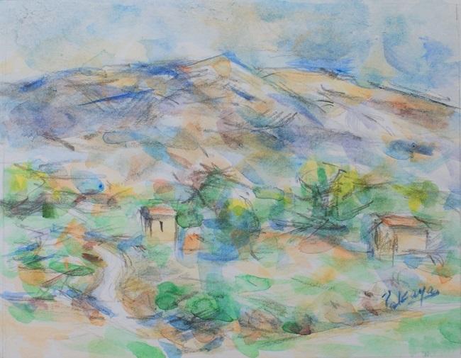白い道とヴァントゥー山(水彩)_c0236929_02510018.jpg