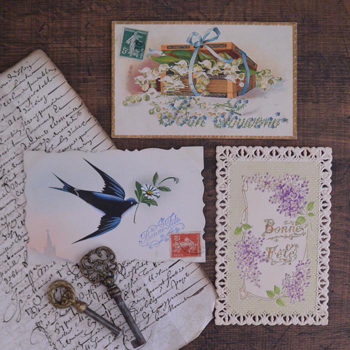 ◆フランスアンティーク*幸せを運ぶ美しいポストカード3種_f0251032_23285780.jpg