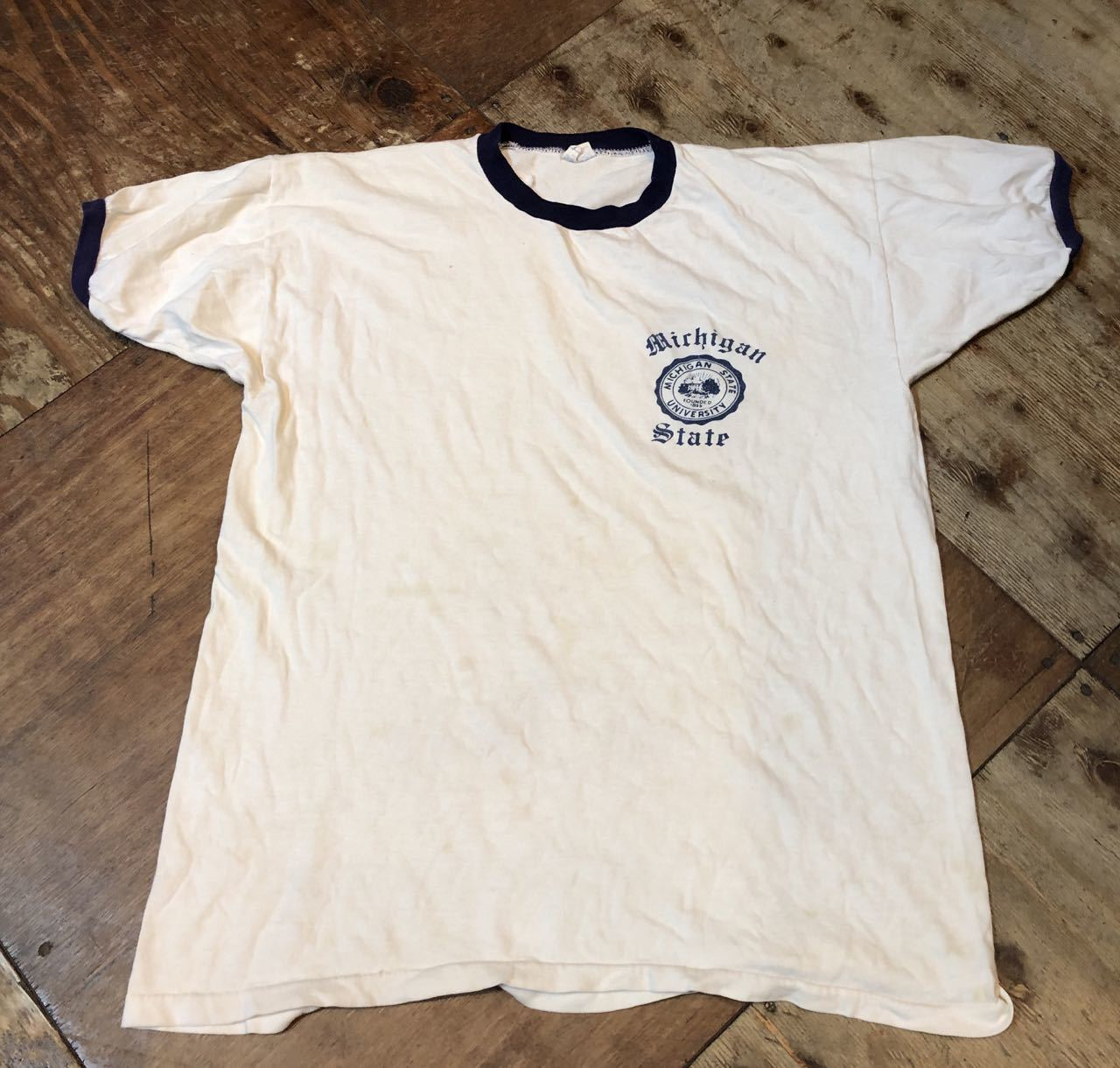 8月10日(土)入荷!70s チャンピオン バータグ 染み込みプリント リンガーTシャツ!_c0144020_16460263.jpg