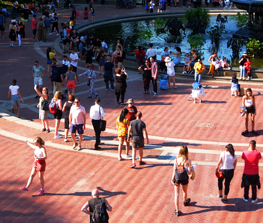 セントラルパークのベセスダ・テラス(Bethesda Terrace)から見下ろす噴水広場と湖_b0007805_05251204.jpg