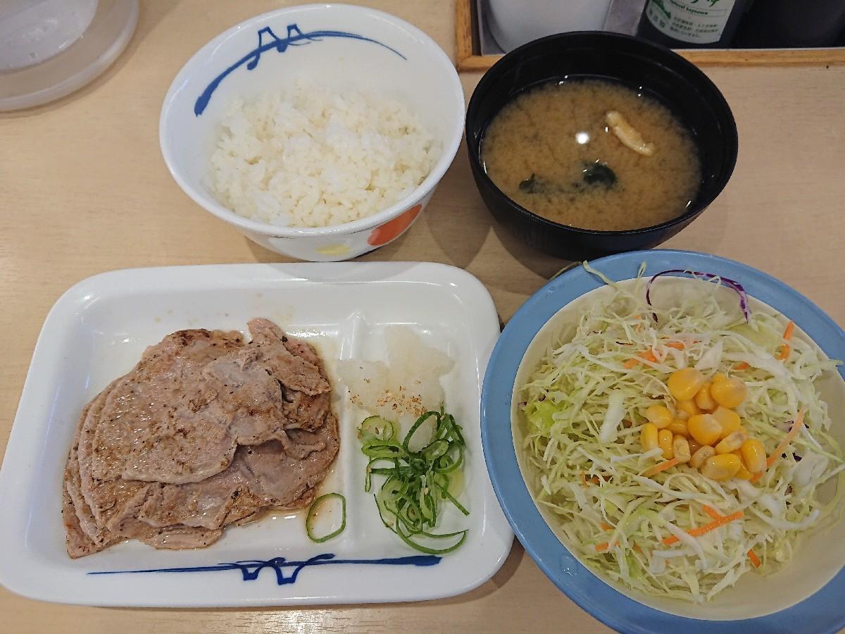 8/11  豚ロース焼肉定食ライスミニ¥480 @松屋_b0042308_17431574.jpg