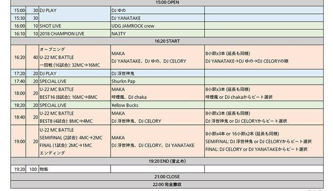 U-22 MCBATTLE 2019 FINAL タイムテーブル公開!_e0246863_05423622.jpg