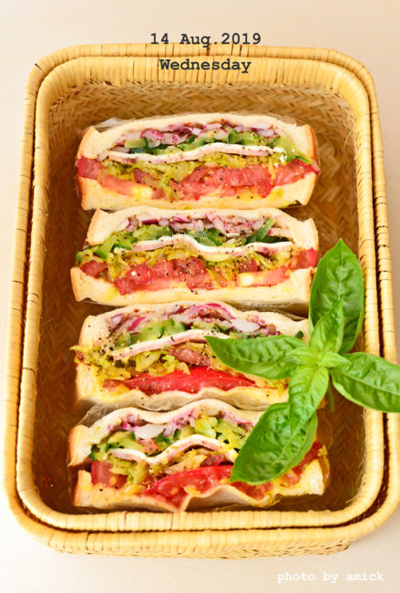 8月18日 日曜日 カレー風味キャベツ入りハムチーズサンドイッチ_b0288550_16030040.jpg