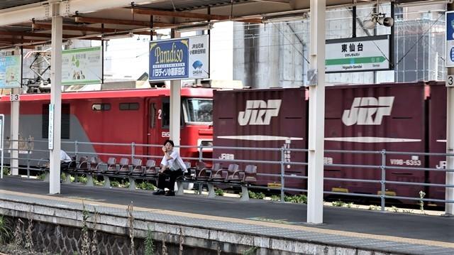 藤田八束の鉄道写真@日韓問題泥沼化する解決の糸口はいかに政治とはこんなにも難しいことか、貨物列車と東北本線東仙台にて_d0181492_20522402.jpg