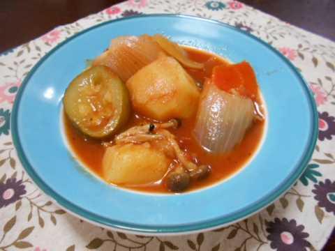 夏野菜のトマト煮込み&冷やっこのおくらかけ_f0019498_21060915.jpg