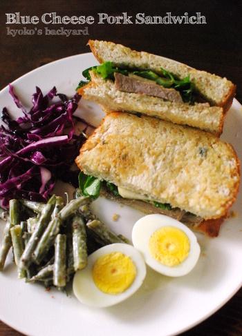 ブルーチーズ&ポークのサンドイッチ。マンゴーサルサ&ハムのカナッペ_b0253205_06275305.jpg